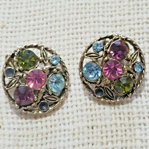 Vintage Clip On Earrings Multi Colored Stones